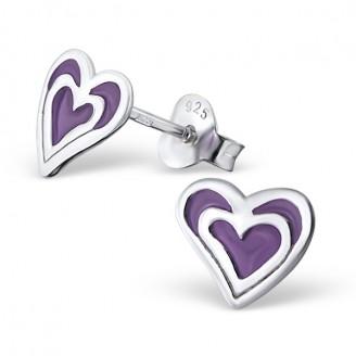 """Dětské stříbrné náušnice """"Srdíčka Baby-purple"""". Ag 925/1000"""